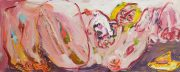 Jay Miriam, A piece of honey pie and a girl, 2014, 56 x 142 cm, oil on linen