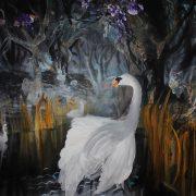 Julius Hofmann, Bild eines Scwans, 2013 100 x 100 cm, acryl on canvas