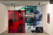 Hannah Perry, This one is crashing together (2015) Diptych film installation, plexiglass panels with silkscreens images and paint, dimensions variable Installation view, MiArt (2015), Milan (IT)
